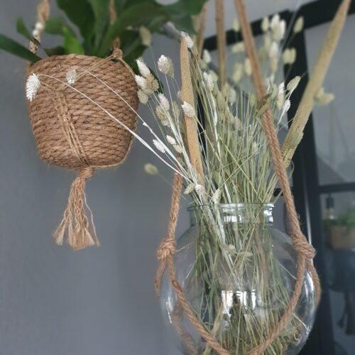 Platfondhanger van glas met touw