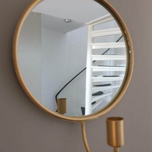 Spiegel goudkleurig met kaarsenhouder