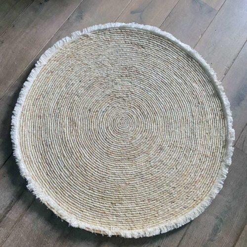 Vloerkleed met franje van riet Estera rond 100 cm