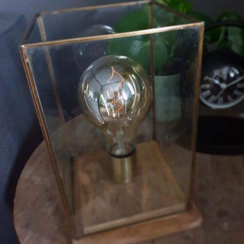Tafellamp glas met goud en houten standaard