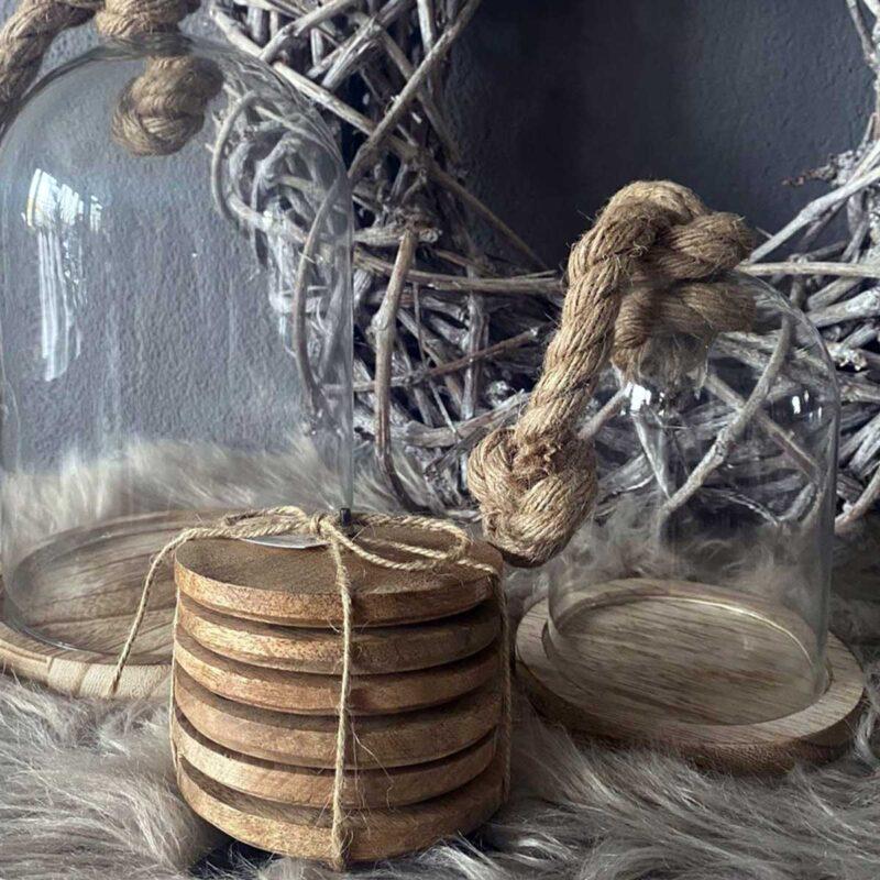 Van Manen Onderzetters Mango 10 Cm Hout/staal Naturel/zwart 7-delig