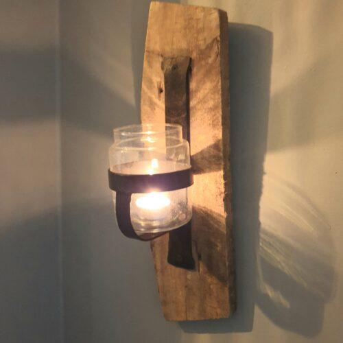 Wand kandelaar glas/hout