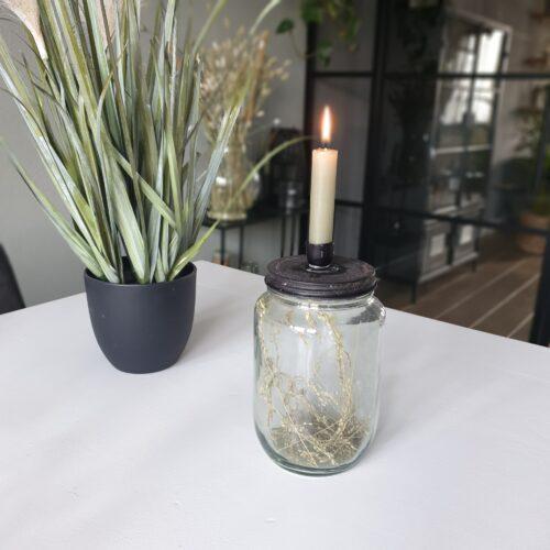 Glazen pot met deksel voor kaarsen