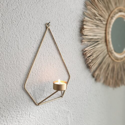Wand kaarsenhouder goud